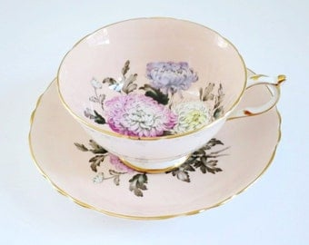 Paragon Chrysanthemum Tea Cup Set  /  Pink Pastel Teacup and Saucer /  Vintage Cup and Saucer Paragon China by SwirlingOrange11