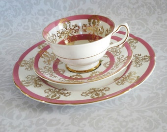 Vintage Tea Cup and Saucer Trio  /  Pink Teacup and Saucer Trio Set  /  Pink Royal Grafton Cup and Saucer