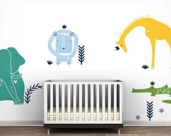 Turquoise Royal Safari Wall Decal Mural by LittleLion Studio. Blue Boy's Room Wall Decor. Green Baby Nursery.