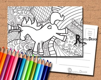 INSTANT DOWNLOAD Coloring Postcard Page - Unicorn Color your own fun Postcards, doodle art, printable, Coloring Postcards