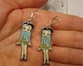 Handmade Enameled Betty Boop Character Earrings, Silver Tone, Leverback Wires