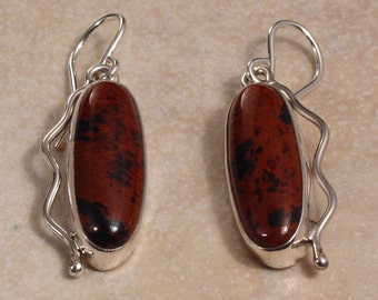 Mahogany Obsidian and Sterling Silver Dangle Earrings