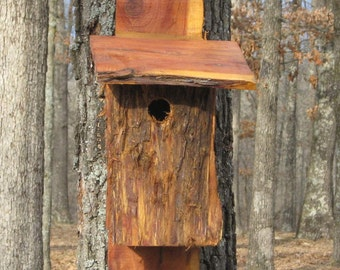 Bluebird house cedar nest box rustic rough one of a kind nature outdoor lover bird watcher birthday gift idea ready to ship