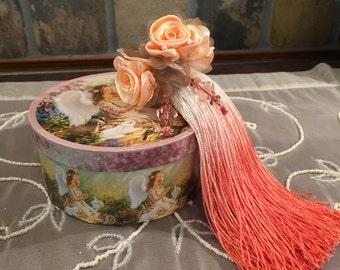 """Victorian Tassel Lamp Fan Pull 7"""" Peach Fringe Beaded Fringe Ribbon Roses"""