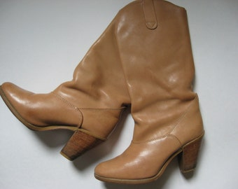 Tall 70s vintage Hanna buff leather boots wood stacked heel size 6 made in Canada