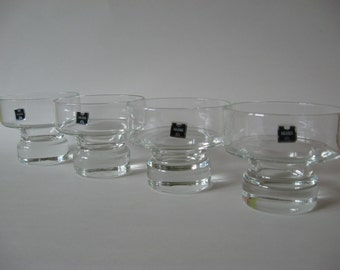 Set of 4 vintage HAAMA heavy glass dessert dishes bowls 70s Corning  atomic stylin' Australian