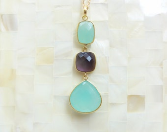 Large Step-Cut Faceted Peru Chalcedony and Amethyst Vermeil Bezel Pendant on Gold Chain Necklace (N1757)
