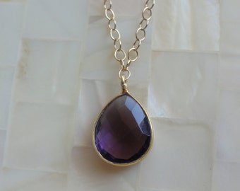 Step Cut Faceted Purple Amethyst Quartz Vermeil Bezel Pear Pendant on Gold Chain Necklace (N1690)