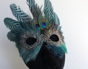 Mardi Gras Green Feather Crown Mask