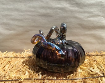 Hand- blown glass pumpkins, made in Corning NY,Purple/black silver brown iridescent stem