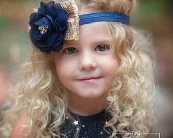 Baby headbands, Navy and Gold girls headband, Flower girl headband.