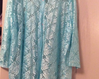 "Long Lace mini dress/tunic/35"" long/NWOT big shirt! Longslv blouse 1X Plus sz Aqua sheer"