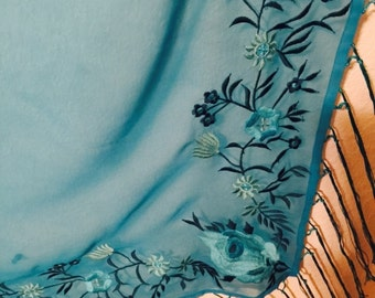 Large embroidered Shawl with fringe turquoise aqua polyester Newport News label no flaws