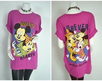 90s Mickey and Minnie Mouse Forever Sweethearts hot pink tee