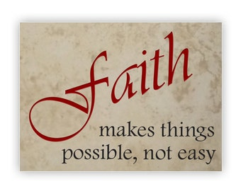 Engraved Stone Decorative 8.75x11.75in Medium Tile -13996 Faith Makes Things Possible, Not Easy