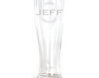 Personalized Pilsner Glass - 19oz - 9620 Double Circle Personalized with Name and Dates