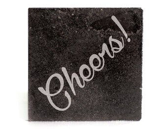 Coasters Set of 4 - black granite laser - 9956 Cheers