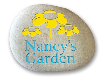 Personalized engraved garden stone on all natural river rock for outdoor decor custom name design -Daisy Garden Desing Personalized