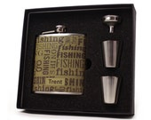 Fishing Flask Gift Set with Shot Cups, Funnel and Gift Box