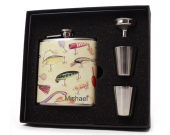 Fishing Lures Flask Gift Set // 6oz