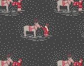 Meeting Santas Reindeer on Dark Grey C7.1 - MAKE A CHRISTMAS WISH - Lewis and Irene Fabric - By the Yard