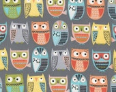 Owls in Rows Grey c4801 - Walk in the Woods - Timeless Treasures - By the Yard