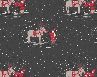 Meeting Santas Reindeer on Dark Grey C7.1 - MAKE A CHRISTMAS WISH - Lewis and Irene Fabric - By the Yard