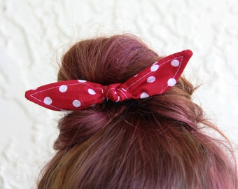 Knotted Bun Clip Hair Bows Red with White Polka Dot Hair Bow Girl Teen Women Hair Accessory French Barrette Alligator Clip Hair Ties