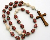 Fair Trade Paper Bead Anglican Prayer Beads with Red Sycamore Wood Cross