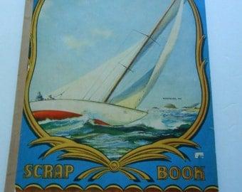 vintage newsprint scrapbook sailboat cover