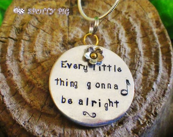 Personalised Gift YOUR CHOICE of wording or lyrics Necklace, Hand stamped & PERSONALISED