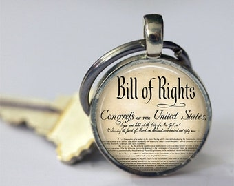 ON SALE Bill of Rights Keychain United States History Ten Amendments Constitution Patriotic Key Chain, Key Fob