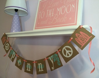 Teen Room Decor / Surfboard and Peace Sign Custom Room Decor / Personalized Boy or Girl Name Banner / Baby Shower Sign / Baby Shower Garland