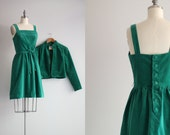 Kelly Green Dress / Button Back Dress / 50s Coat and Dress Set with Dress Pockets