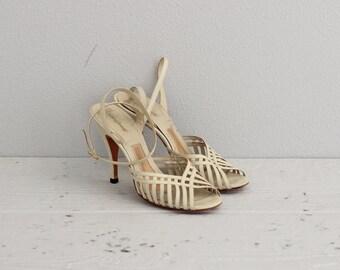 High Heel Sandals . Strappy Heels . Vintage Womens Shoes . High Heels