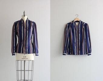SALE . Womens Blouse . Button Up Shirt . Vintage 70s Stripe Shirt