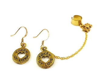 EAR CUFF Earrings - Antiqued Gold Token of Love Charms Ear Cuff - Extra Earring With Charm only, ER-0318