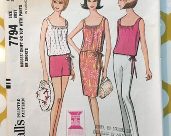 1965 McCalls Sewing Pattern 7794 Misses Summer Shift and Shorts Size 12 cut- sewing pattern, summer shift dress, shorts pattern