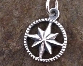 Sterling Silver Compass Charm  - 1  Halmarked Navigational Charm - 16.5mm Tall - Solid SS .925 on Back C244