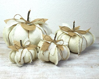 White Pumpkins, Burlap Pumpkins, Farmhouse Pumpkins, Farmhouse Decor, Fall Decoration, Neutral Fall Decor, Ivory Pumpkin, Autumn Decor