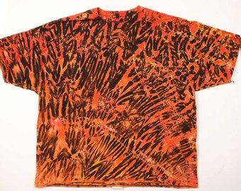 XXXL Shibori Men's T Shirt Yes Orange Tie Dye