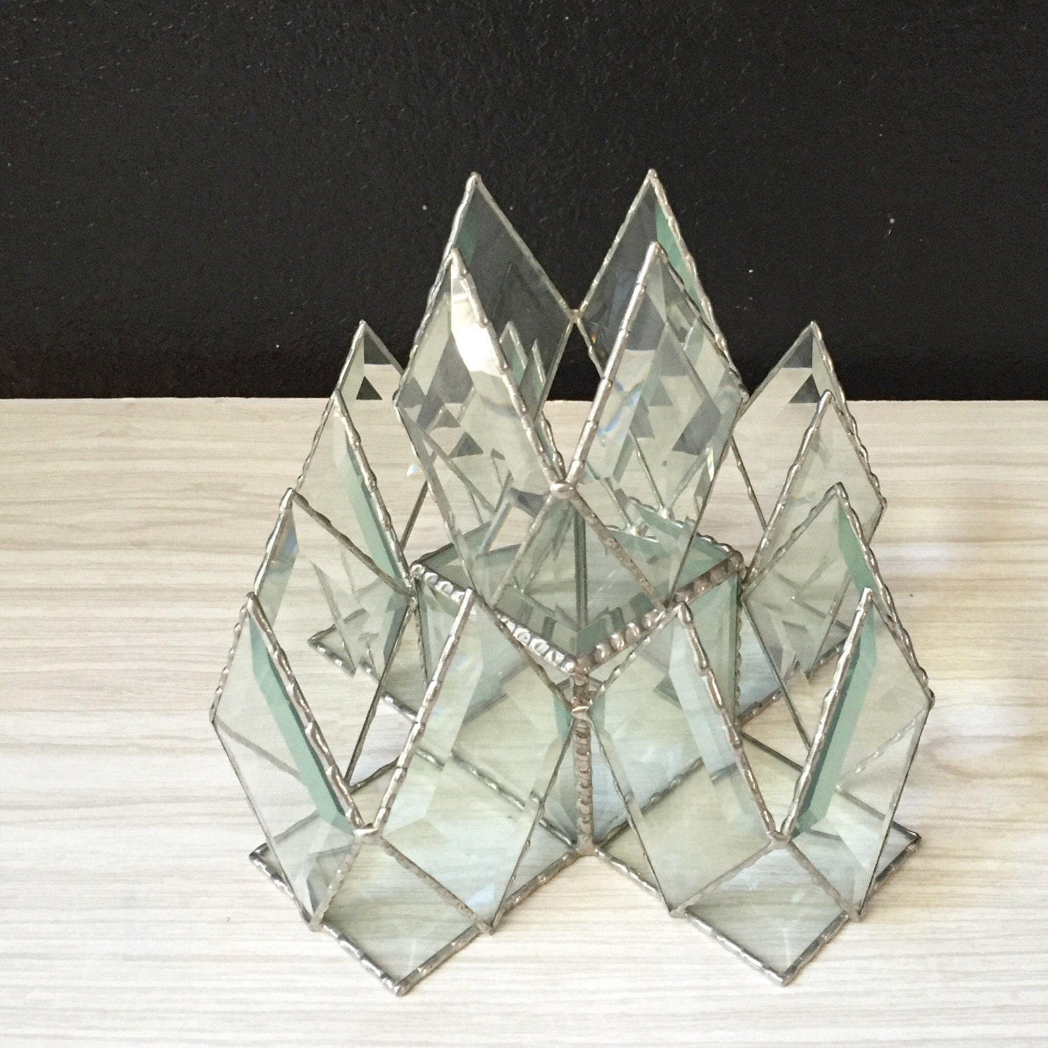 Large vintage beveled geometric glass box sculpture