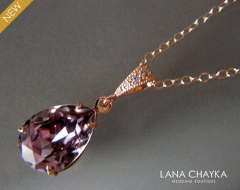 Antique Pink Rose Gold Crystal Necklace Swarovski Rhinestone Teardrop Necklace Purple Rose Gold Necklace Wedding Jewelry Bridesmaid Jewelry