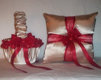 Champagne Satin With Red Trim Flower Girl Basket And Ring Bearer Pillow Set 1