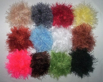 5 Fun Fur Hair Scrunchies Handmade  NEW COLORS  12 To Choose From