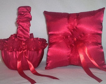Red Satin With Red Ribbon Trim Flower Girl Basket And Ring Bearer Pillow