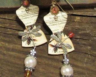 Altered Art Earrings. Assemblage Earrings. Dress Form Earrings. Dragonflies Bees Pearl Drop Earrings. Handmade.