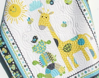 Baby Quilt, Baby Blanket, Nursery Crib Bedding, Bundle of Love, Giraffe Turtles, Grey Gray Yellow Blue Green, Modern Adorable Twin Bedding