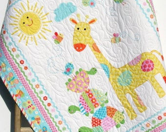 Baby Quilt, Girl Baby Blanket, Nursery Crib Bedding, Bundle of Love, Giraffe Turtles, Pink Yellow Blue Green, Modern Adorable Twin Bedding