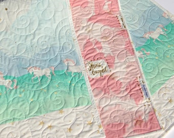 Baby Quilt Girl Bedding Blanket Baby Crib Shabby Chic Coral Pink Mint Green Unicorn Magic Parade Horses Gold Glitz I Love You to the Stars